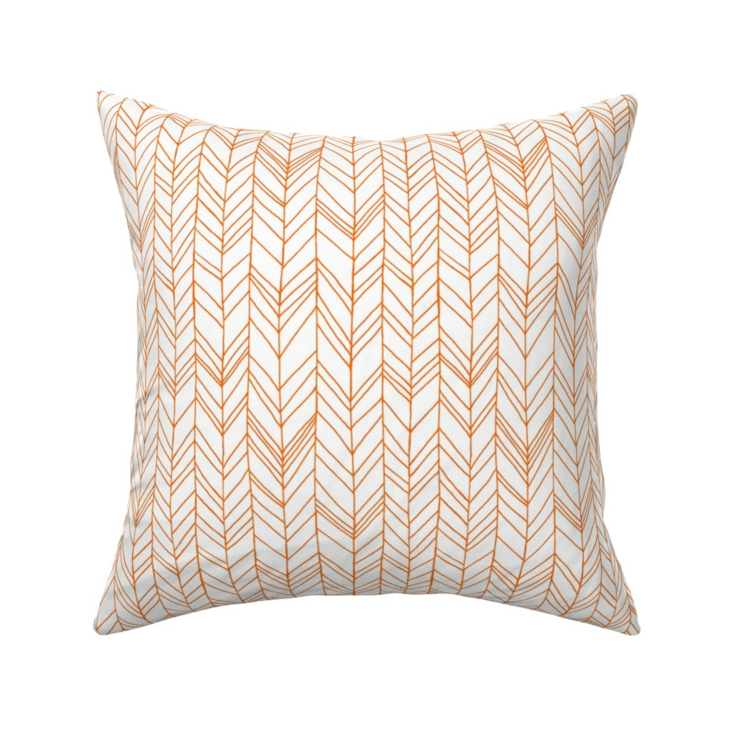 Catalan Throw Pillow featuring featherland white with orange by leanne