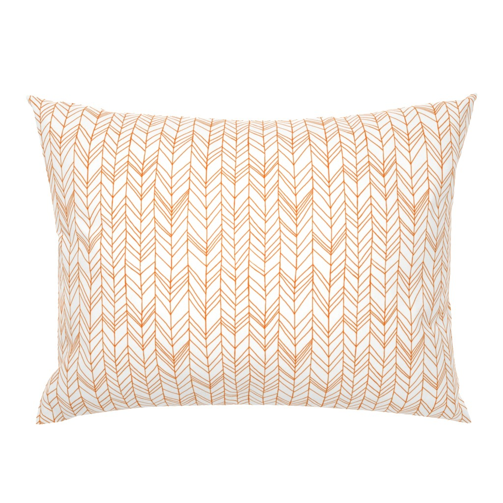 Campine Pillow Sham featuring featherland white with orange by leanne