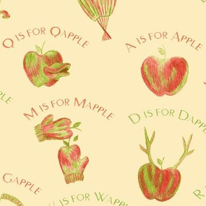 A is for Apple  (a silly apple alphabet) on apricot cream