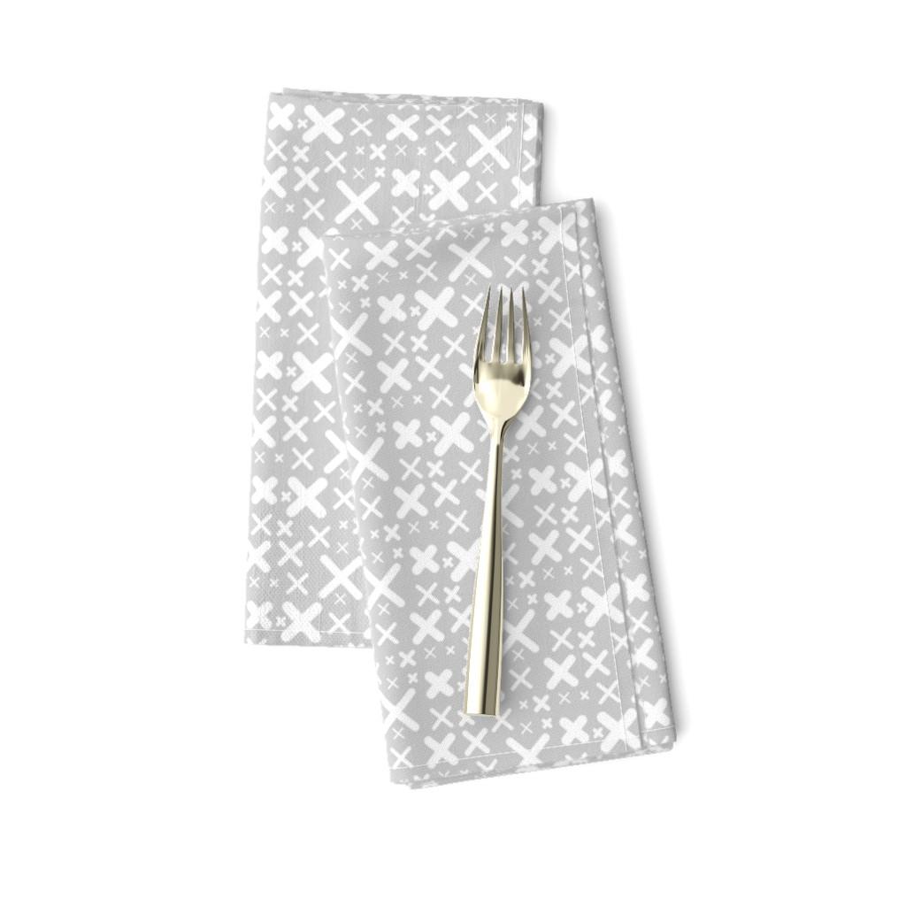 Amarela Dinner Napkins featuring X - gray by kristinnohe