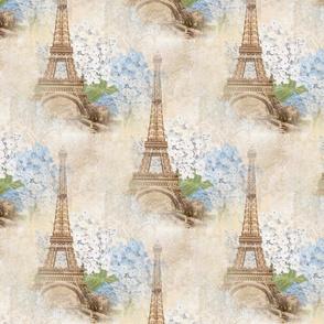 Paris Vintage Blue Hydrangeas