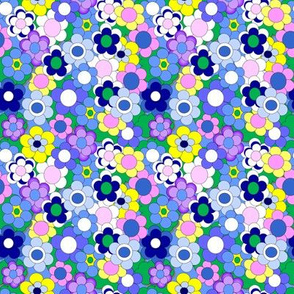Blue Flowers and Green Clouds Fabric