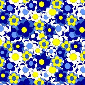 Blue and Yellow Flowers Fabric