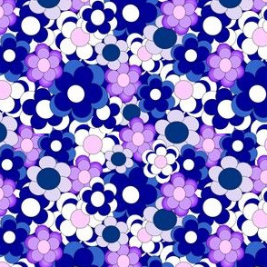 Blue and Purple Flowers Fabric