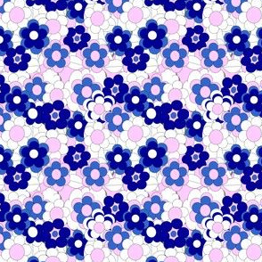Pink and Blue Flowers Fabric