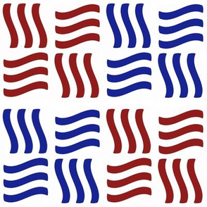 Wavy Bars Block Red White Blue 6
