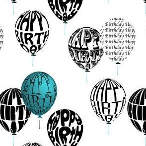 Happy Balloons Blue&White