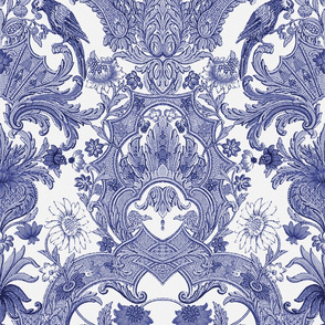 Parrot Damask ~ Blue and White ~ Centered Birds