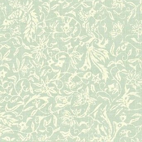 Bird of Paradise - celadon, ivory
