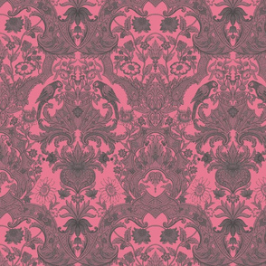 Parrot Damask ~ Pink & Grey