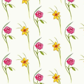 Roses and Daffodils, Cream