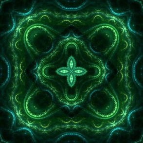 Square Fractal 2 - Green and Teal