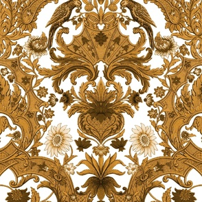 Parrot Damask ~ Gold and White