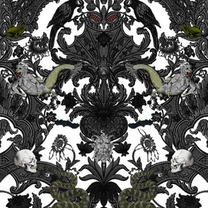 This Is Halloween! Haunted House Damask ~ Ghostly White