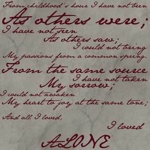 Edgar Allan Poe ~ Alone ~ Poem in Blood Red on Parchment