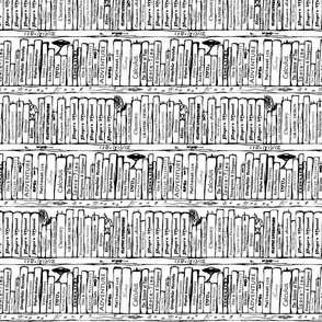 Book Shelves Repeat (black and white)