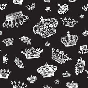 Royal Crowns - White on Black