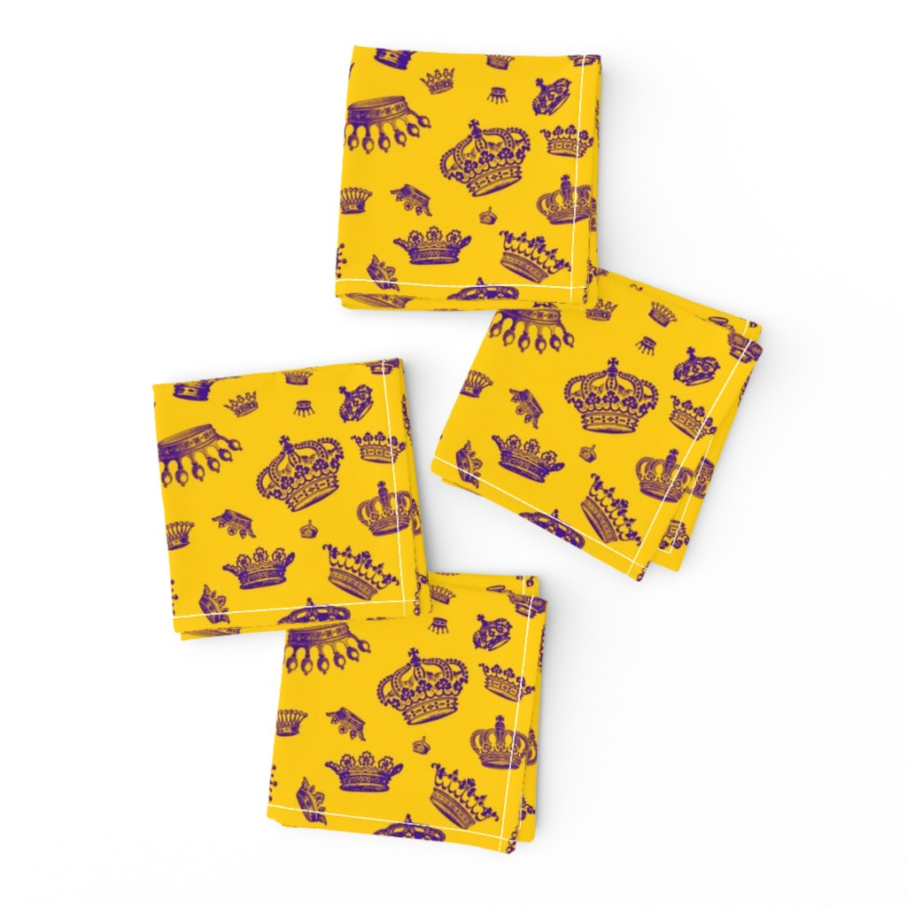 Frizzle Cocktail Napkins featuring Royal Crowns - Purple on Golden Yellow by studiotendesign
