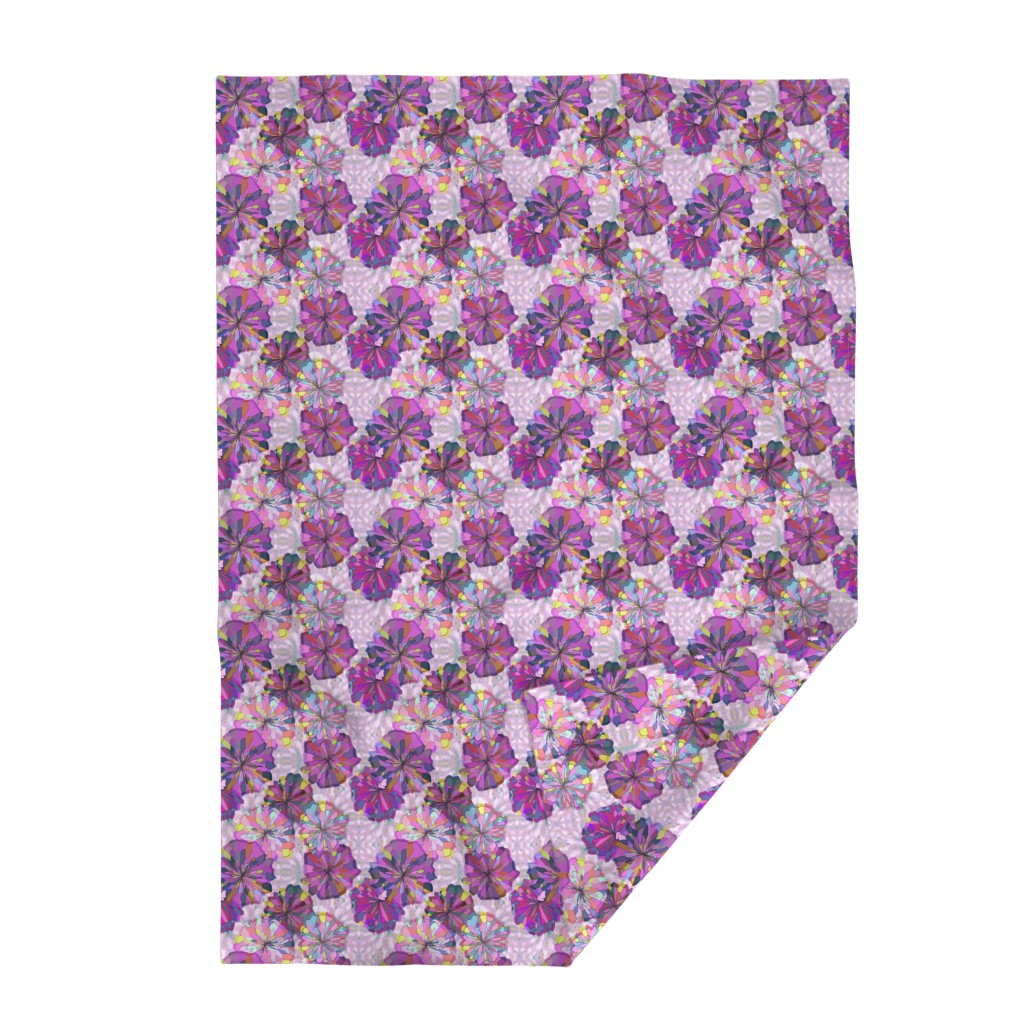 Lakenvelder Throw Blanket featuring Pink and Violet Floral with Ikat by bloomingwyldeiris