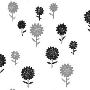 Inky Flowers   Black and Silver-Grey