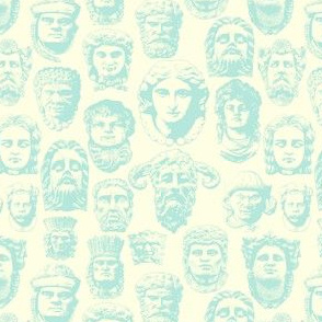 Faces of Derry  -Cream and vintage blue