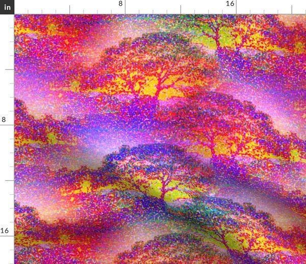 Pointillist Jungle Savannah Trees Pink S Spoonflower