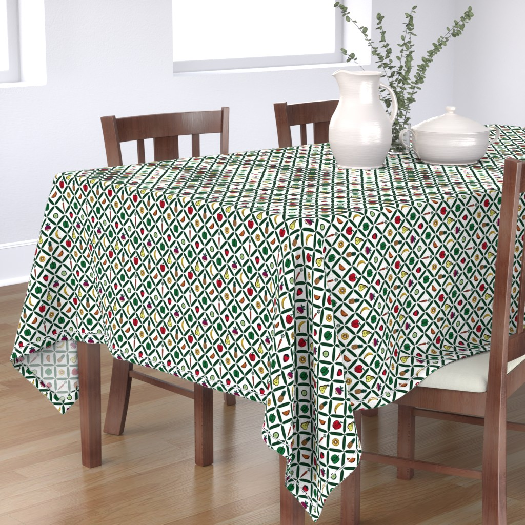 Bantam Rectangular Tablecloth featuring Peas Please! by knittingand