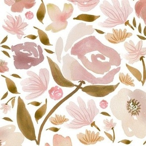 Baby Blush Roses Watercolor flowers Pink Baby Girls