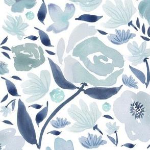 Blue rose watercolour florals blue - watercolor