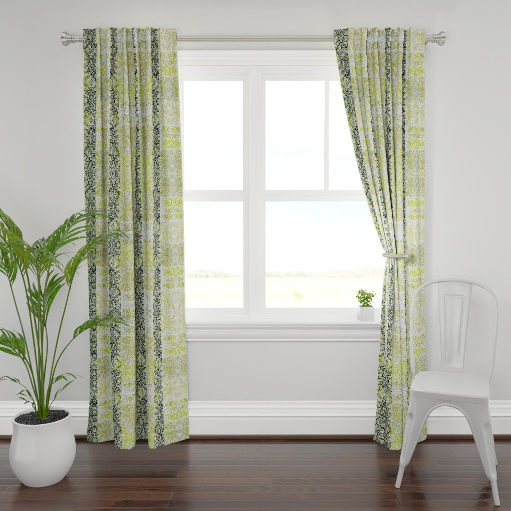 Plymouth Curtain Panel featuring Chartreuse and Black Vines by maria_pezzano