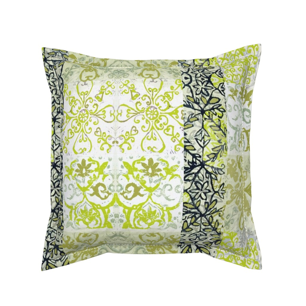 Serama Throw Pillow featuring Chartreuse and Black Vines by maria_pezzano