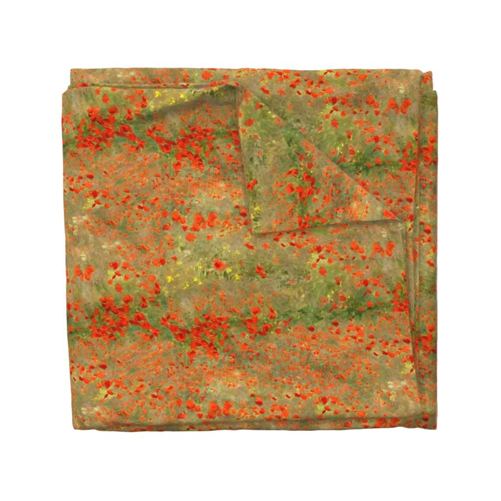 Wyandotte Duvet Cover featuring Monet: Poppy Field- Poppies Only Original Palette by ninniku