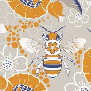 Beats N Bees Floral in Blue & Orange