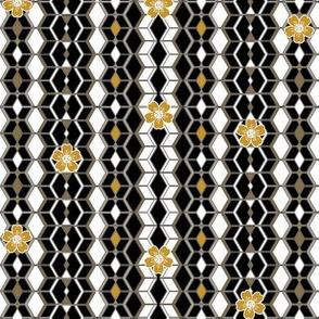 Beats N Bees Geometric Stripe in Black, Gold & Silver