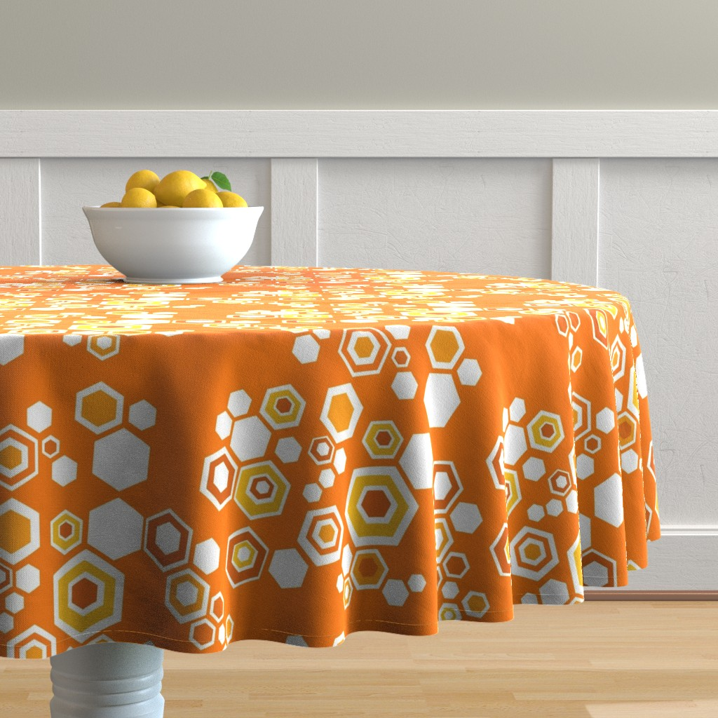 Malay Round Tablecloth featuring hive - orange blossom by kurtcyr