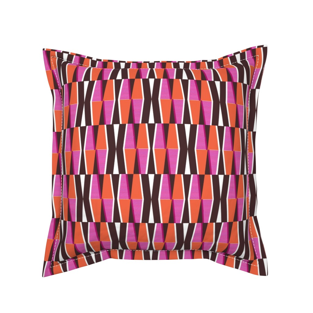 Serama Throw Pillow featuring Dayo Spice - Midcentury Modern Retro Geometric by heatherdutton