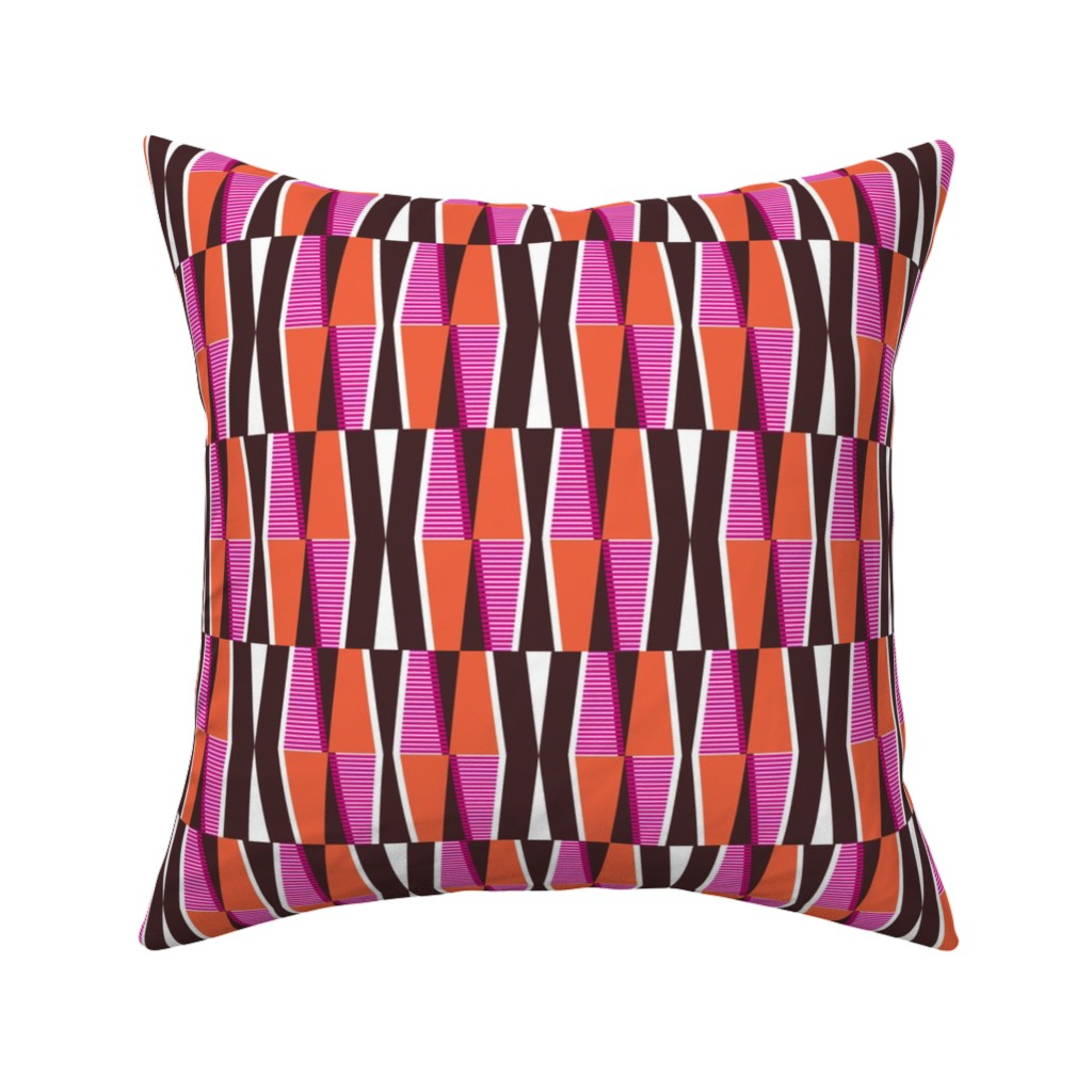 Catalan Throw Pillow featuring Dayo Spice - Midcentury Modern Retro Geometric by heatherdutton