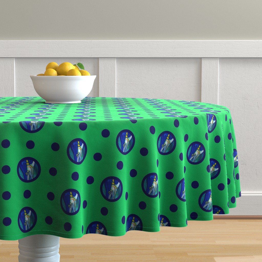 Malay Round Tablecloth featuring Pin&Pon Popmarlin by joancaronil