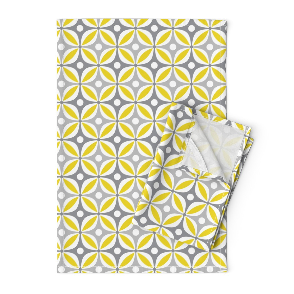 Orpington Tea Towels featuring Lemon Peels - Mod Wallpaper - Three Color by run_quiltgirl_run