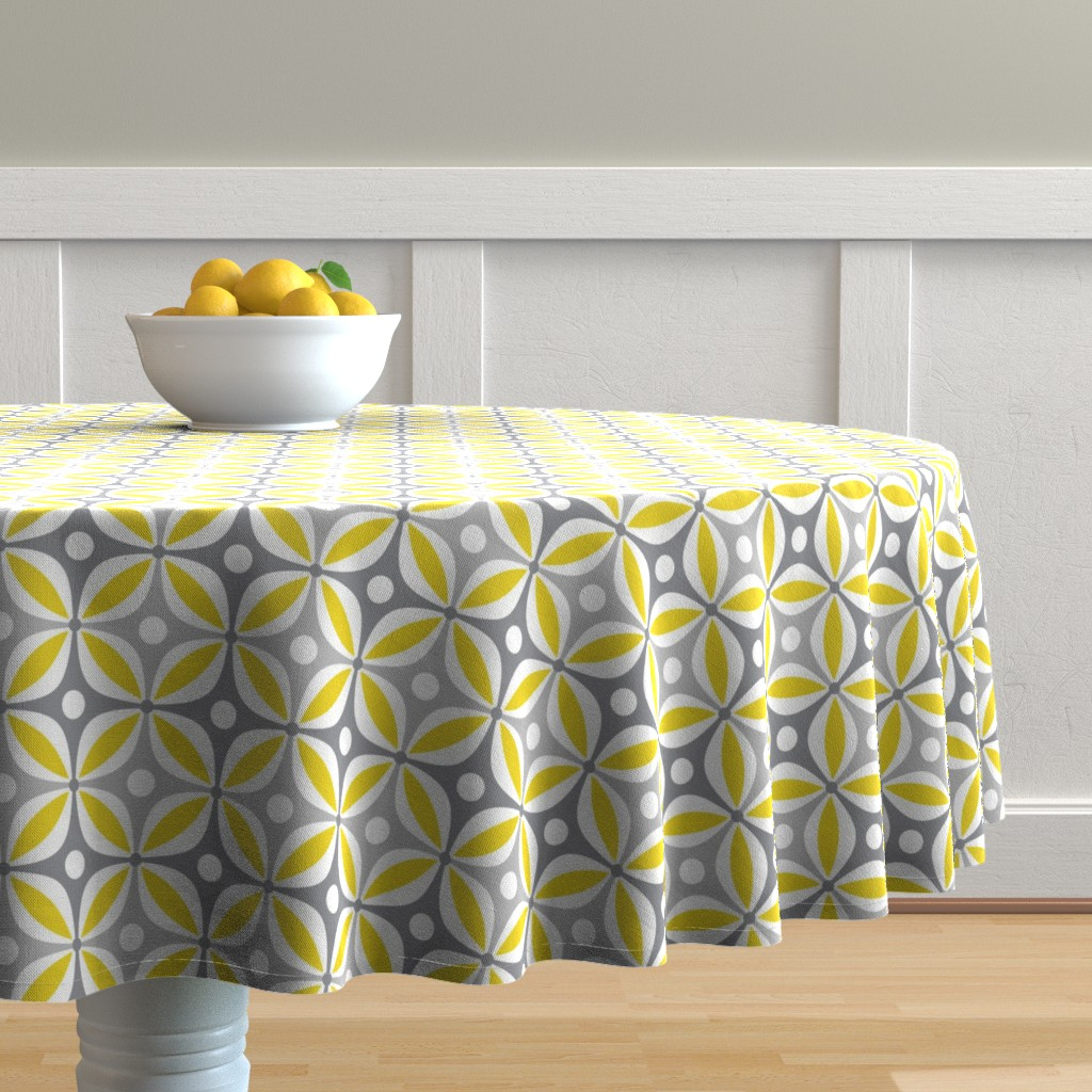 Malay Round Tablecloth featuring Lemon Peels - Mod Wallpaper - Three Color by run_quiltgirl_run