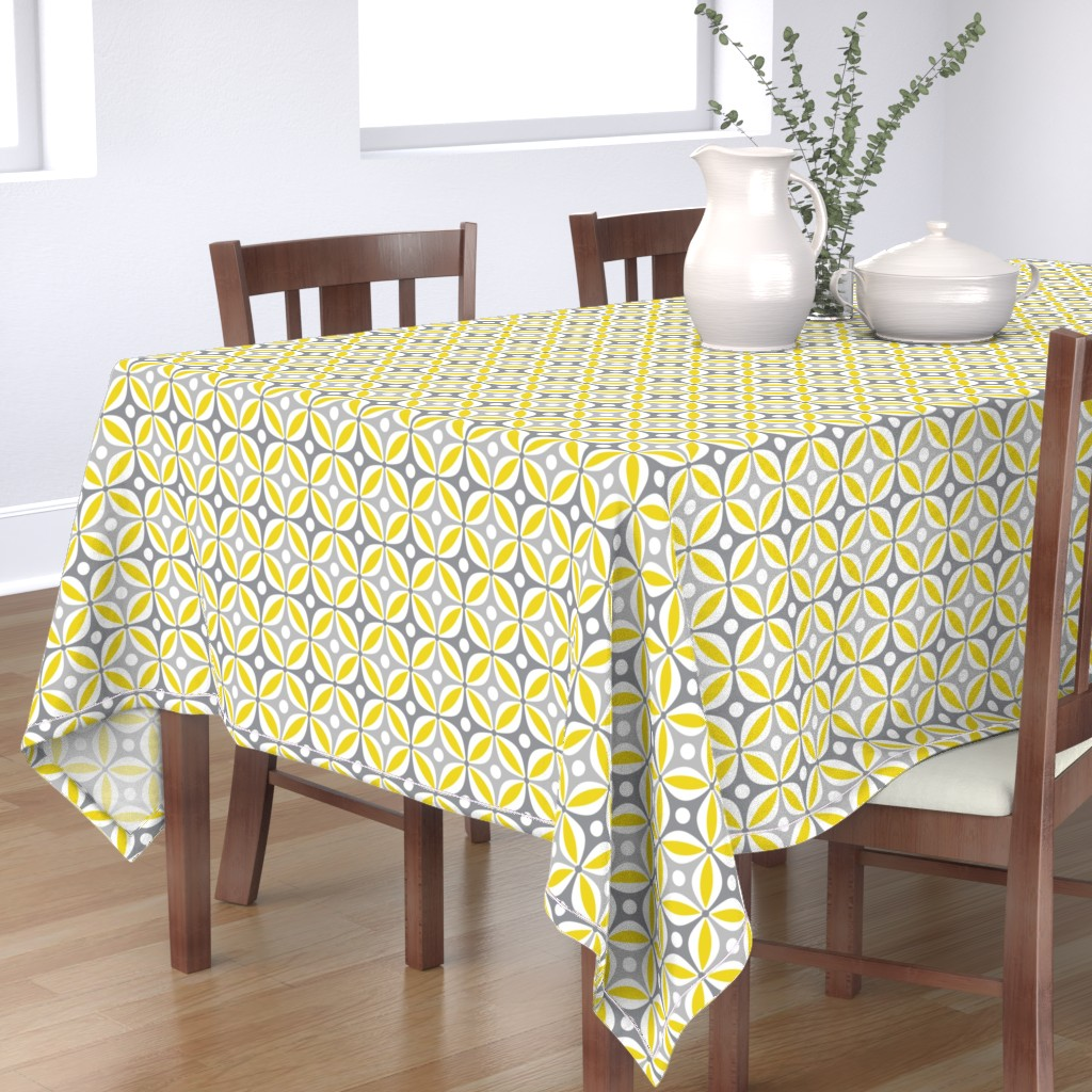 Bantam Rectangular Tablecloth featuring Lemon Peels - Mod Wallpaper - Three Color by run_quiltgirl_run
