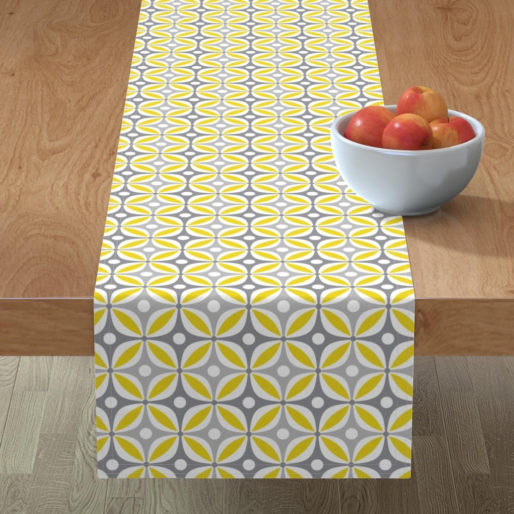 Minorca Table Runner featuring Lemon Peels - Mod Wallpaper - Three Color by run_quiltgirl_run