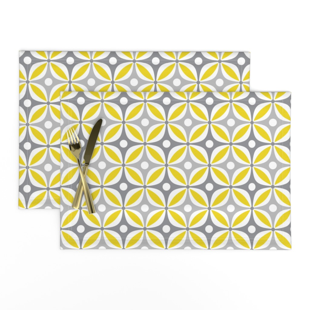 Lamona Cloth Placemats featuring Lemon Peels - Mod Wallpaper - Three Color by run_quiltgirl_run