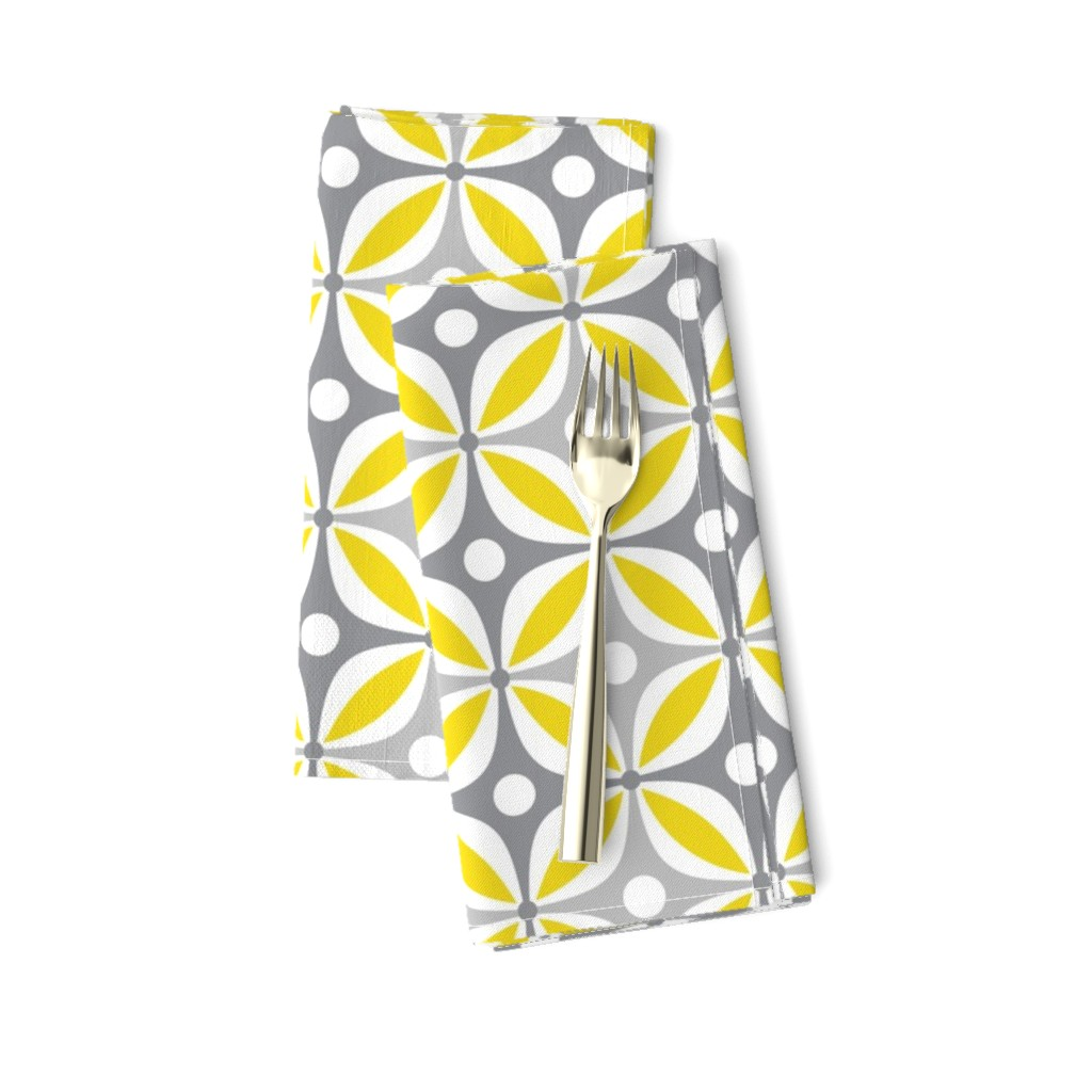 Amarela Dinner Napkins featuring Lemon Peels - Mod Wallpaper - Three Color by run_quiltgirl_run