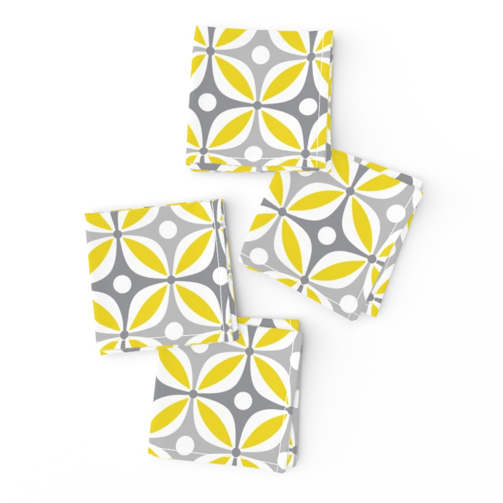 Frizzle Cocktail Napkins featuring Lemon Peels - Mod Wallpaper - Three Color by run_quiltgirl_run
