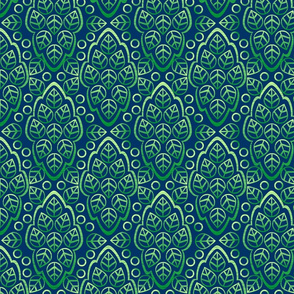 LEAFY LINES green on blue