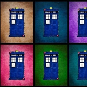 Gem tones blue police box patches