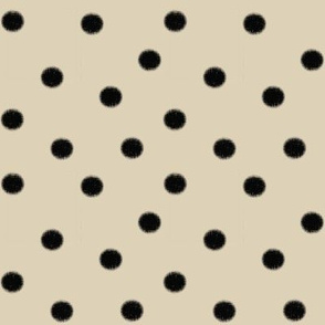 Black Polka Dot on Cream Cappuccino (large-scale jumbo dots)