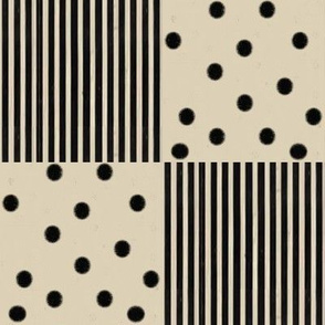 Black Dots & Stripes on Cappuccino | Cheater Quilt Blocks