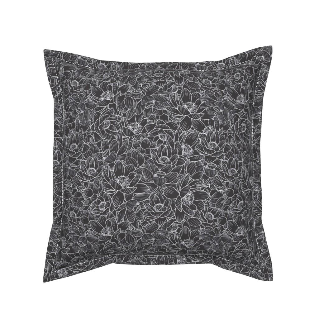 Serama Throw Pillow featuring Lotus-Madness - Black & White by seabluestudio